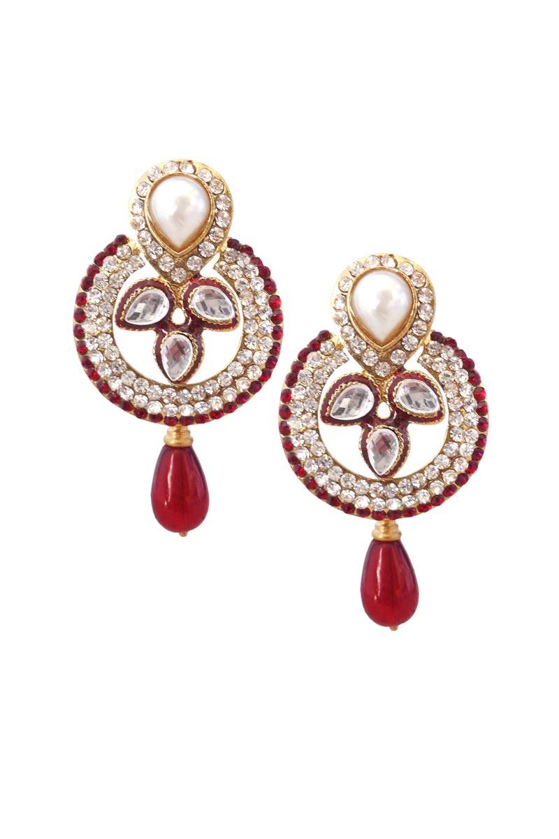 Maroon Color Brass Festive Wear Earrings
