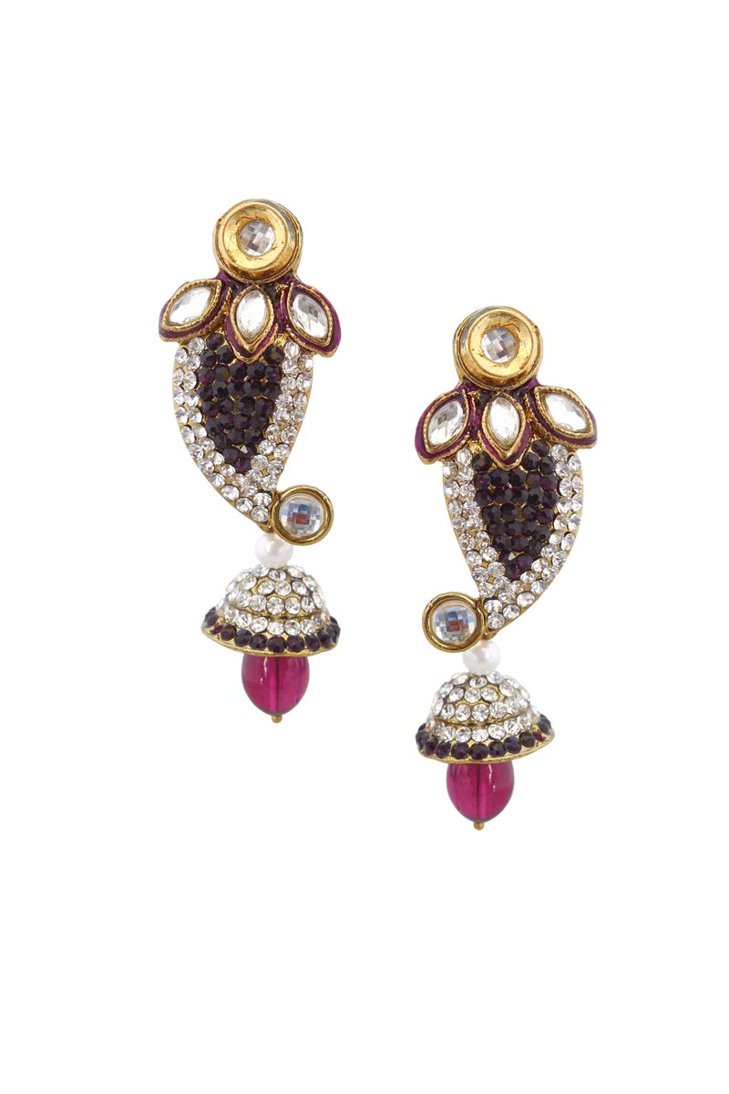 Rani Color Brass Festive Wear Earrings