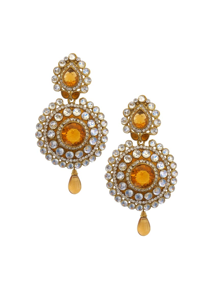 Orange Color Brass Festive Wear Earrings