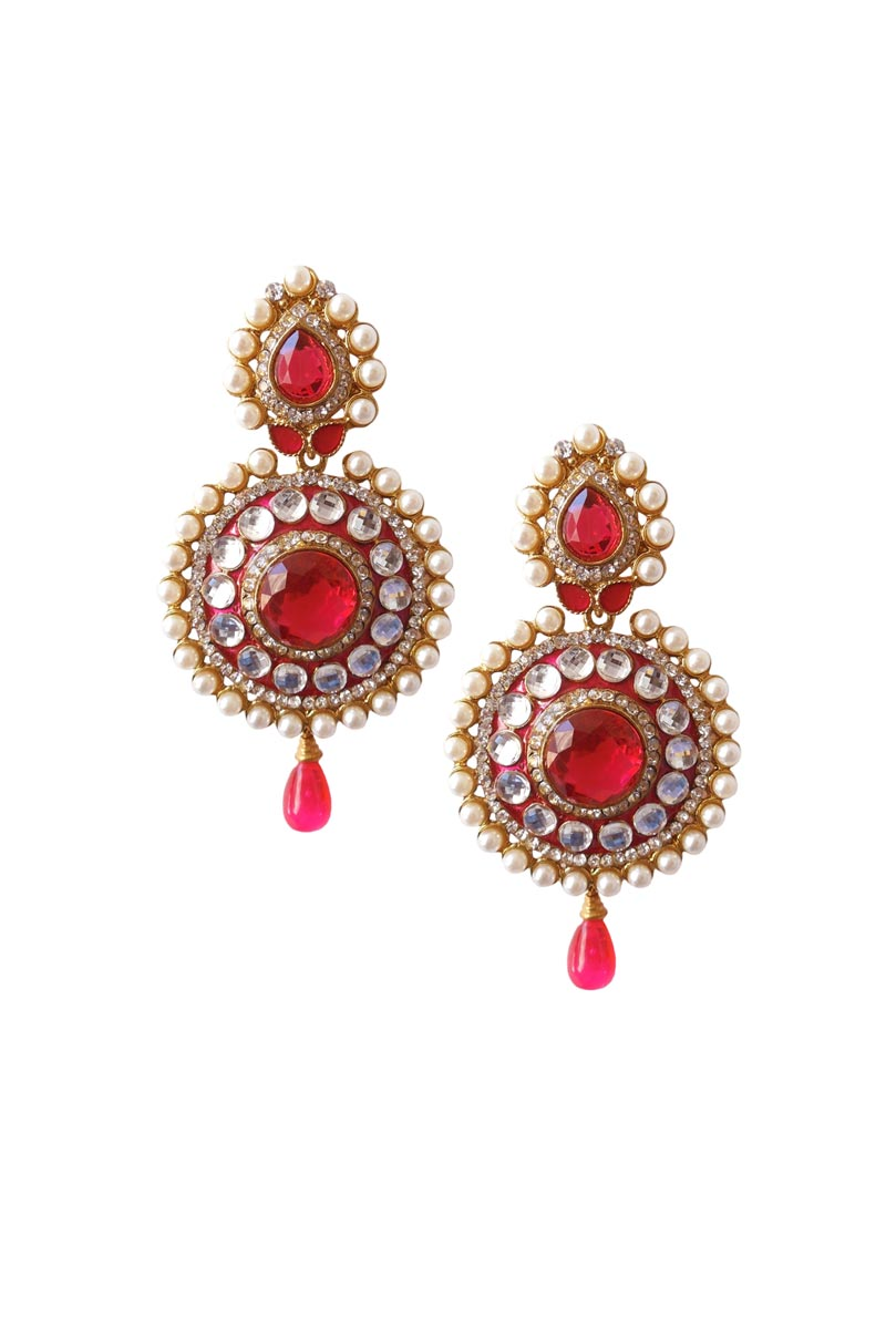 Red Color Brass Party Wear Earrings