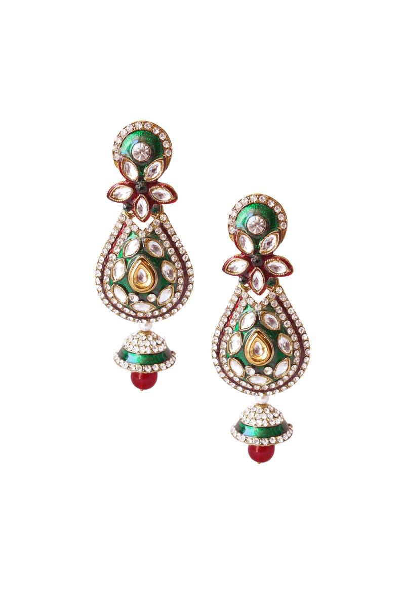 Green Color Brass Party Wear Earrings