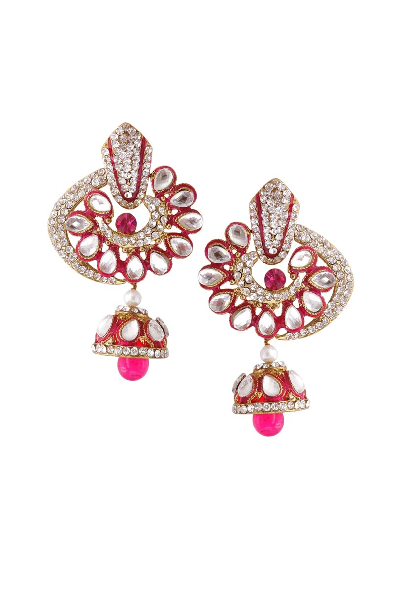 Rani Color Brass Party Wear Earrings