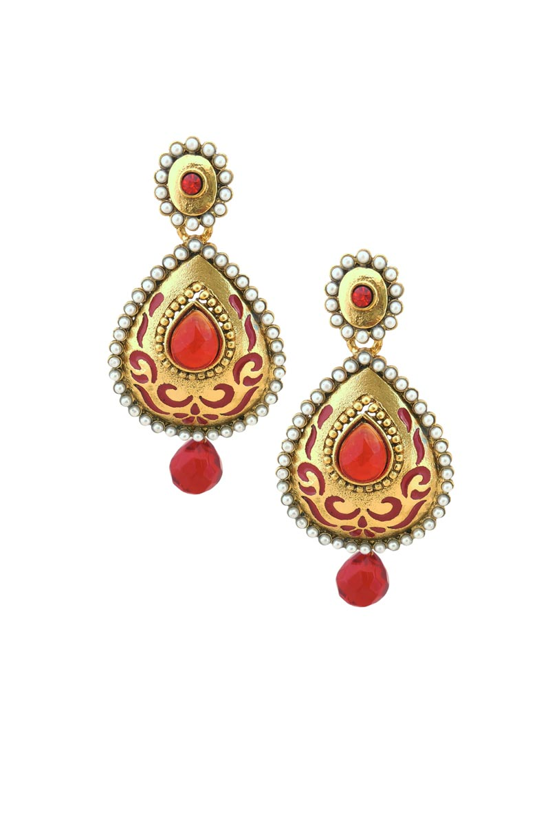 Red Color Brass Sangeet Wear Earrings