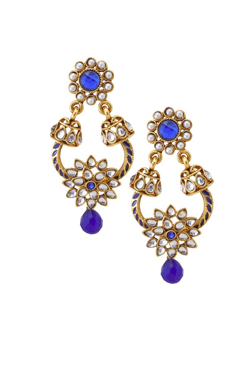 Blue Color Brass Sangeet Wear Earrings