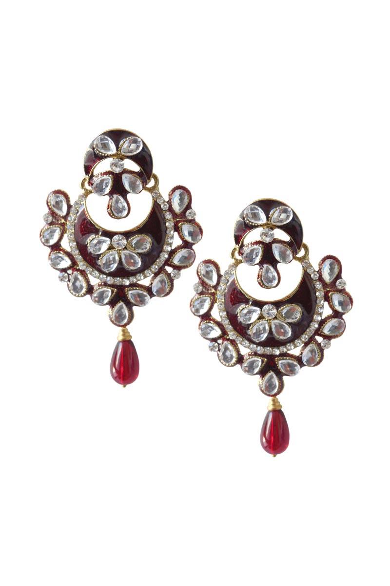 Maroon Color Brass Sangeet Wear Earrings