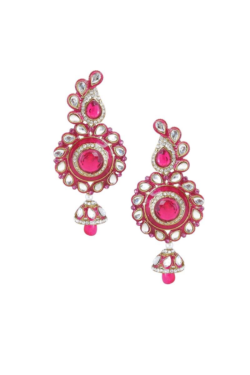Rani Color Brass Sangeet Wear Earrings