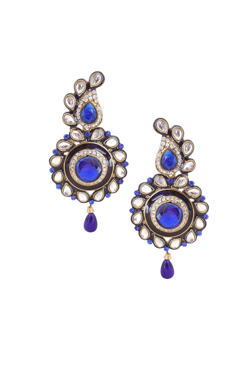 Blue Color Brass Sangeet Wear Fancy Earrings