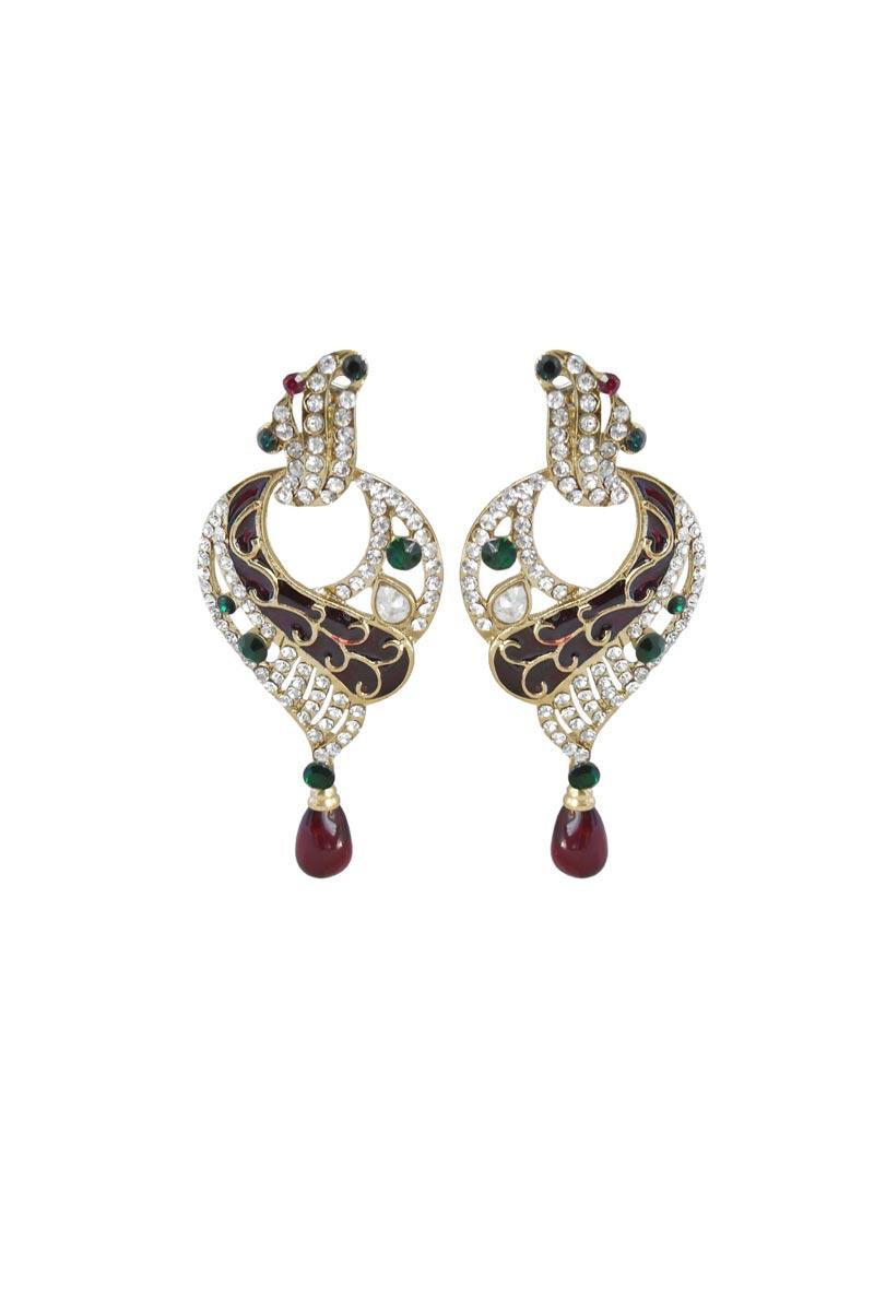 Maroon Color Brass Sangeet Wear Trendy Earrings