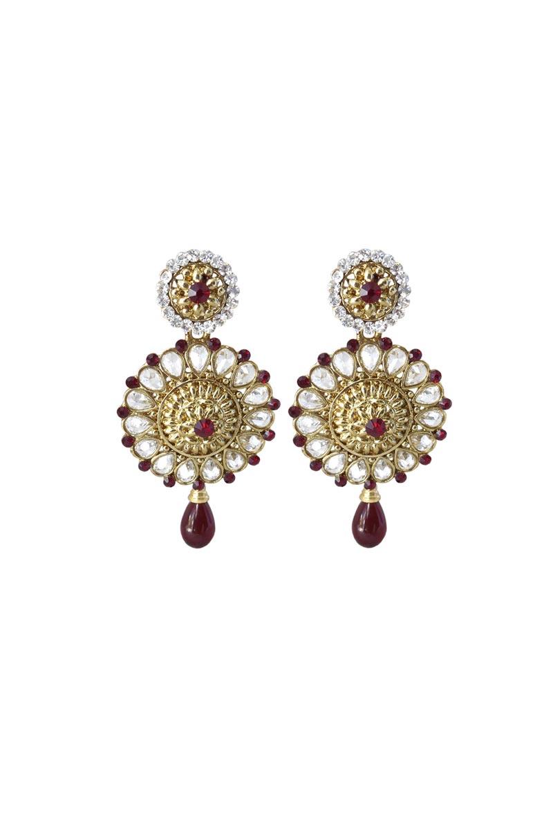 Maroon Color Brass Sangeet Wear Stylish Earrings