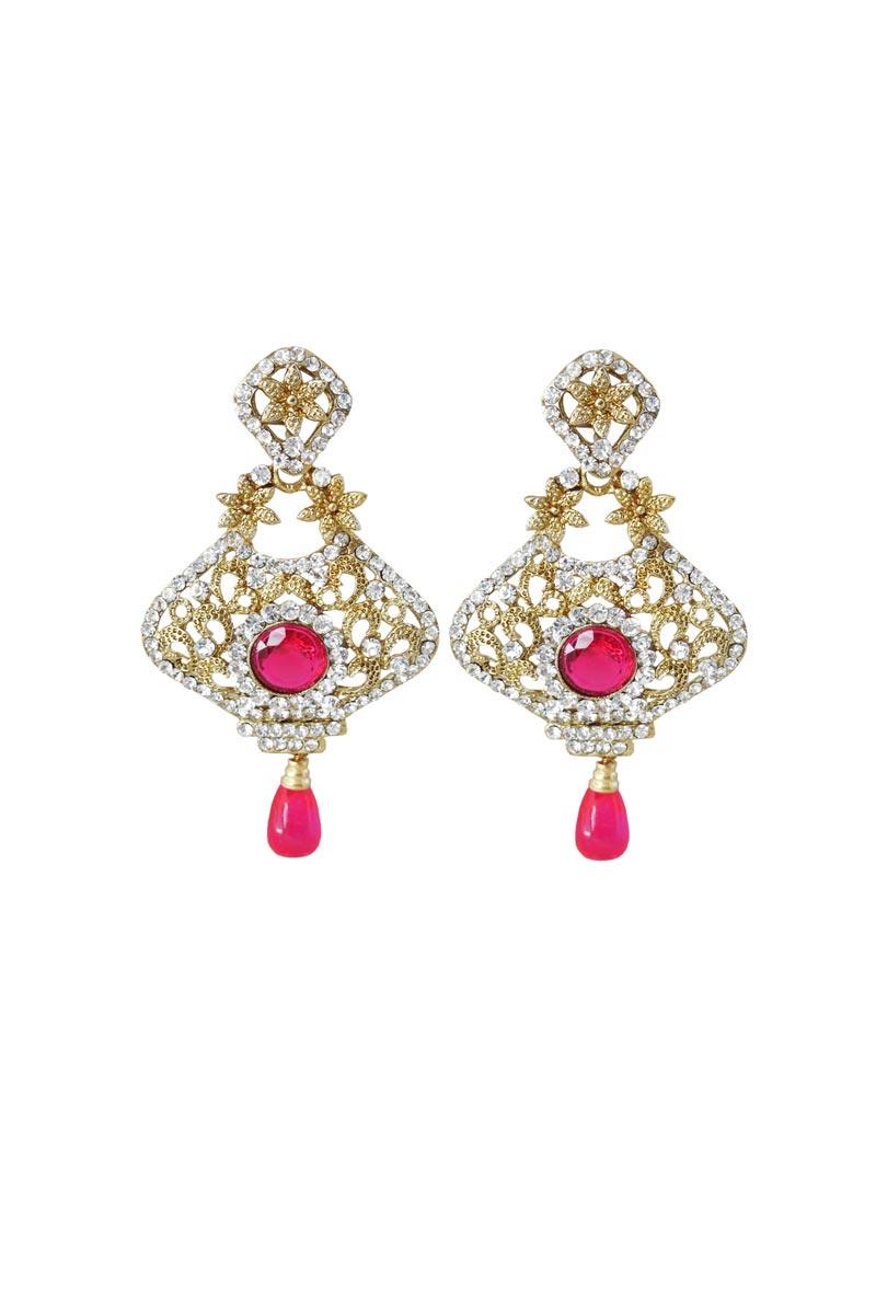 Rani Color Brass Sangeet Wear Simple Earrings