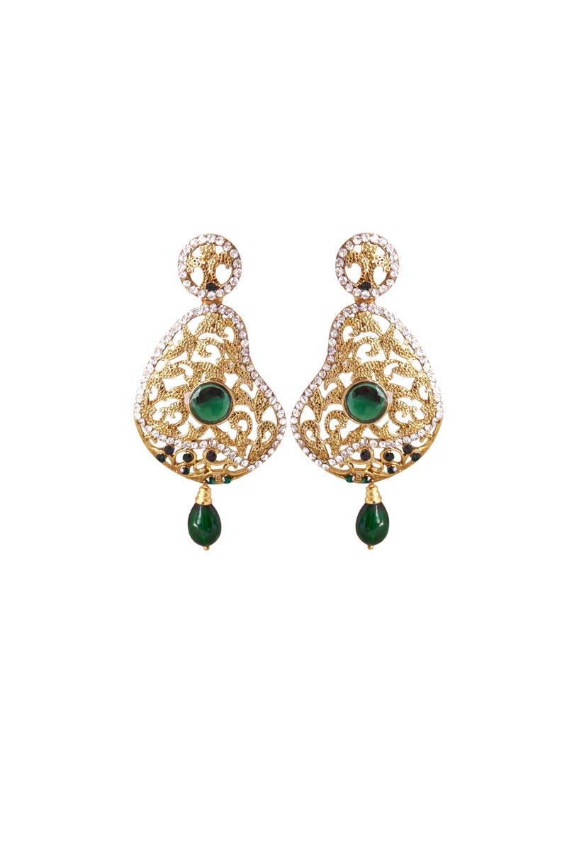 Dark Green Color Brass Wedding Wear Earrings