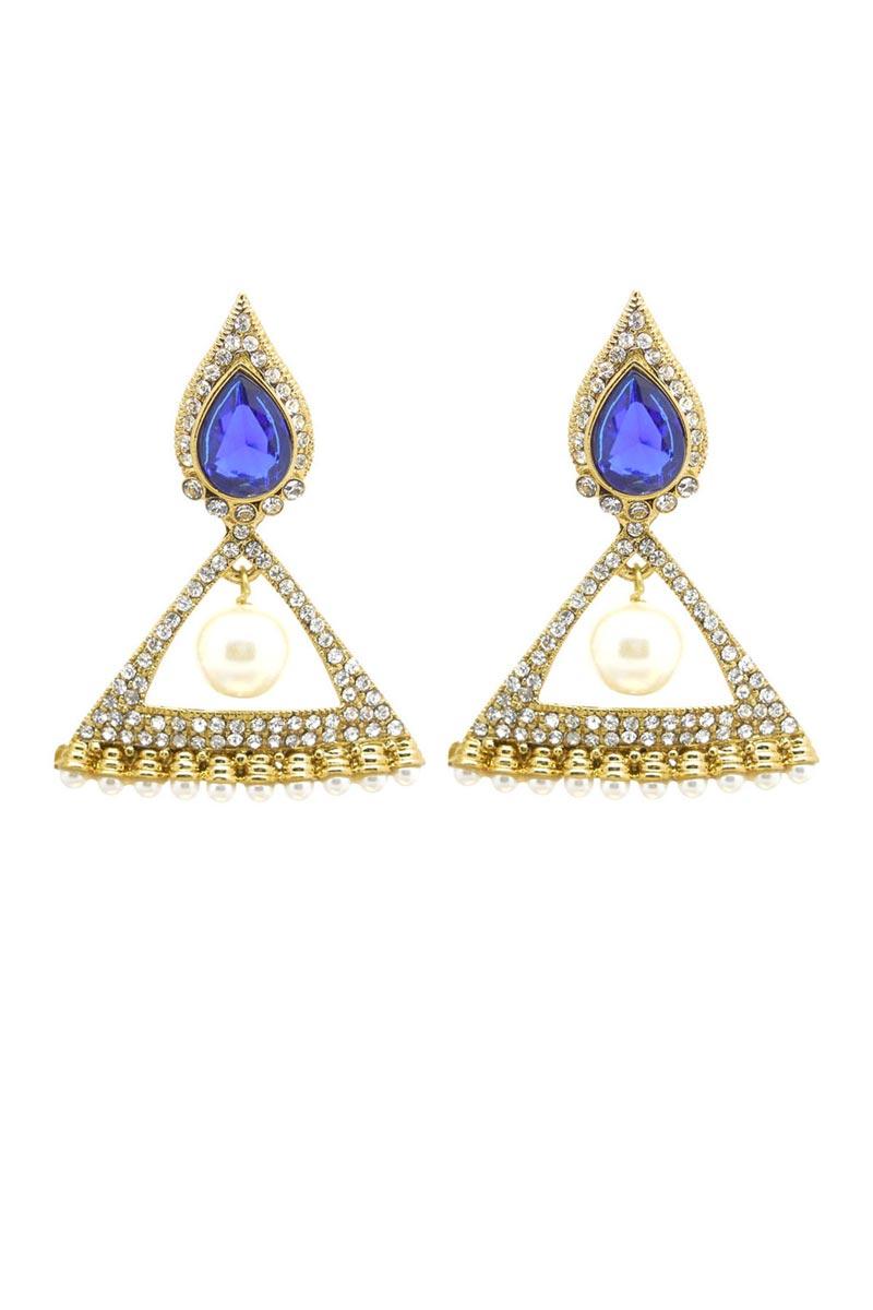 Blue Color Brass Wedding Wear Earrings