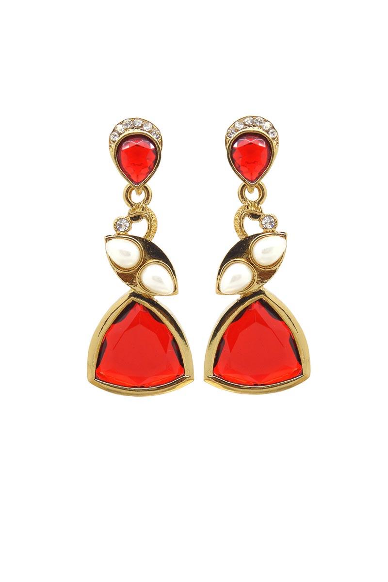 Red Color Brass Wedding Wear Earrings