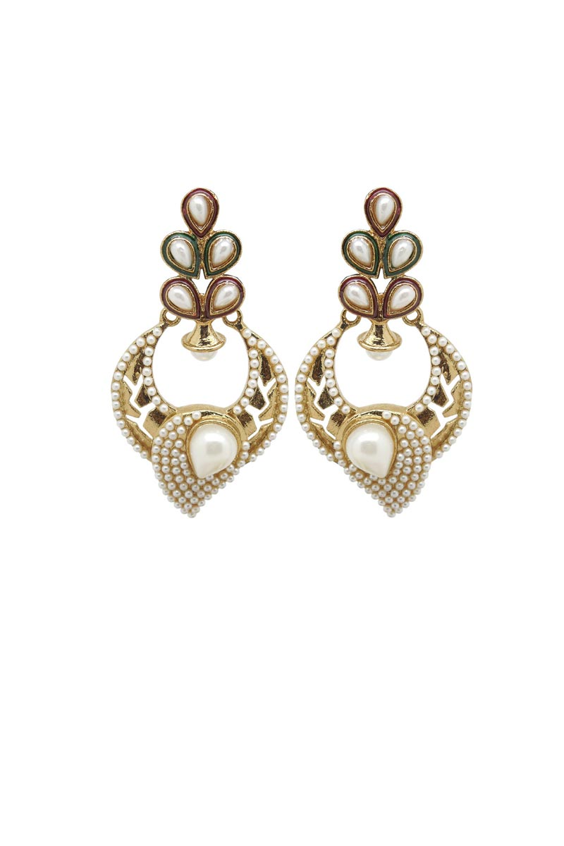 Golden Color Brass Wedding Wear Earrings