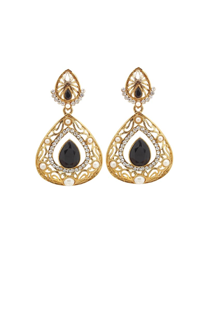 Black Color Brass Reception Wear Earrings