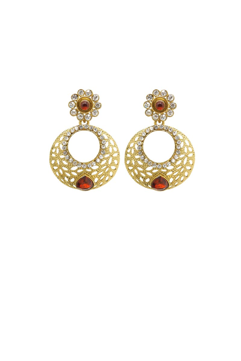Golden Color Brass Reception Wear Earrings