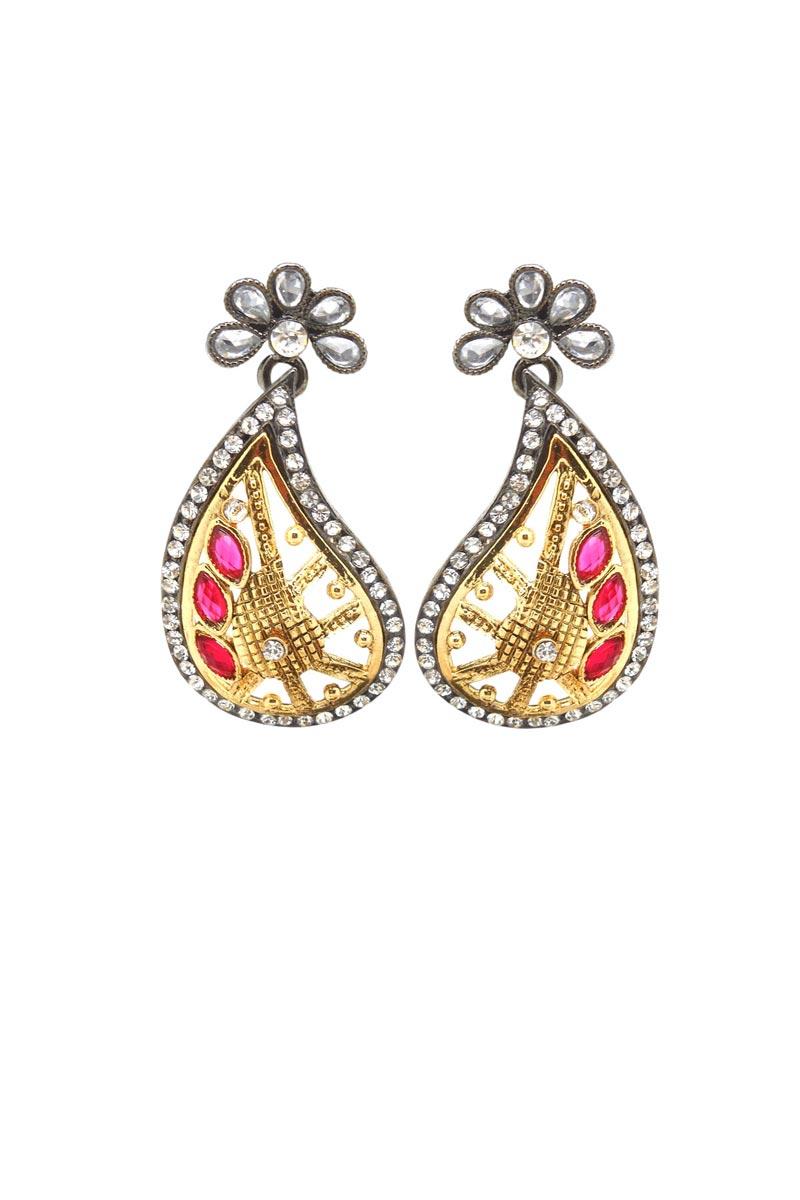 Golden Color Brass Reception Wear Designer Earrings