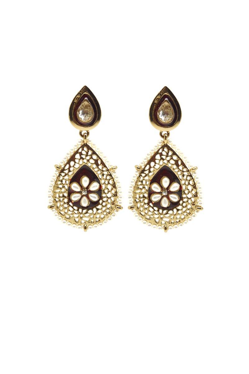 Maroon Color Brass Reception Wear Earrings