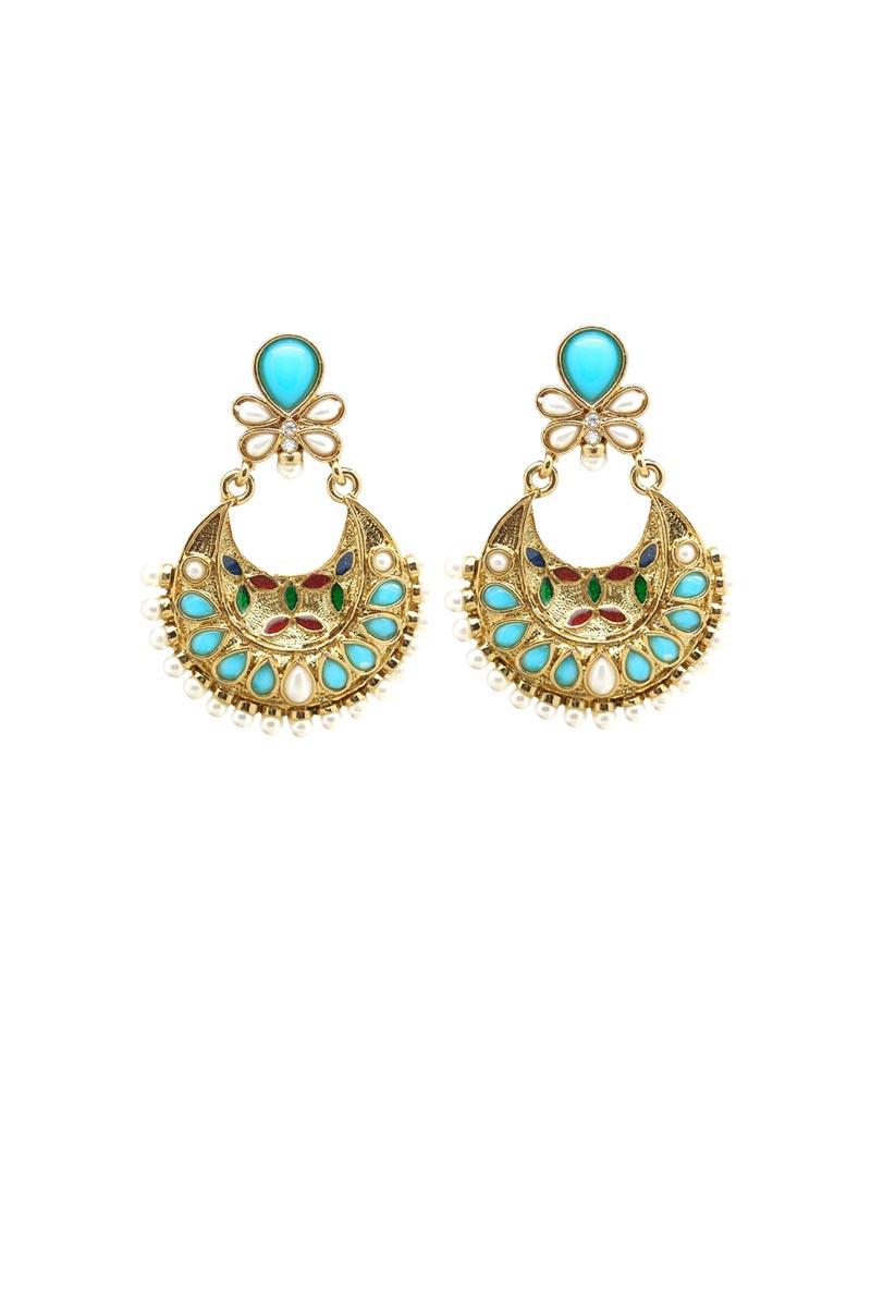 Cyan Color Alloy Reception Wear Earrings