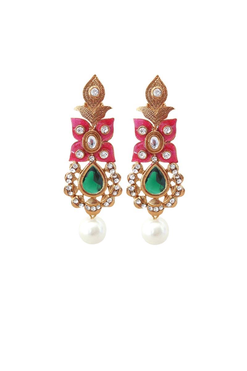 Golden Color Brass Reception Wear Fancy Earrings