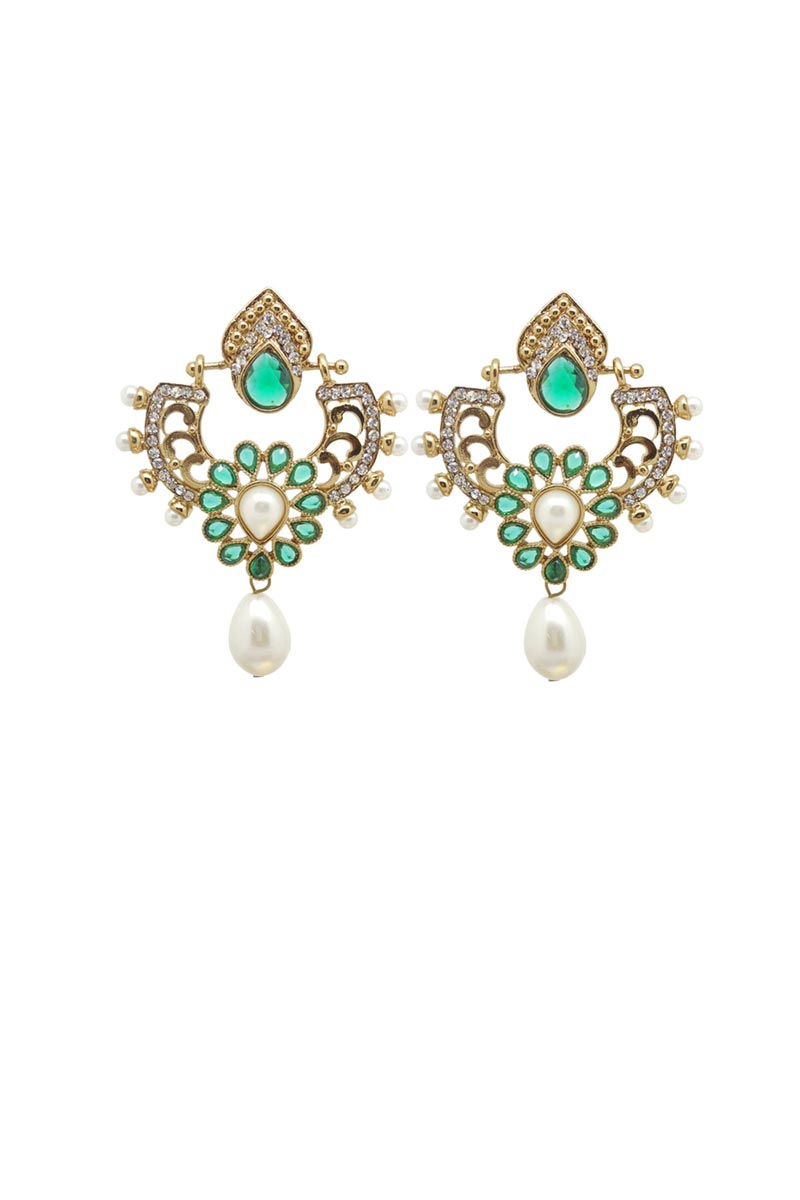 Green Color Brass Material Function Wear Earrings