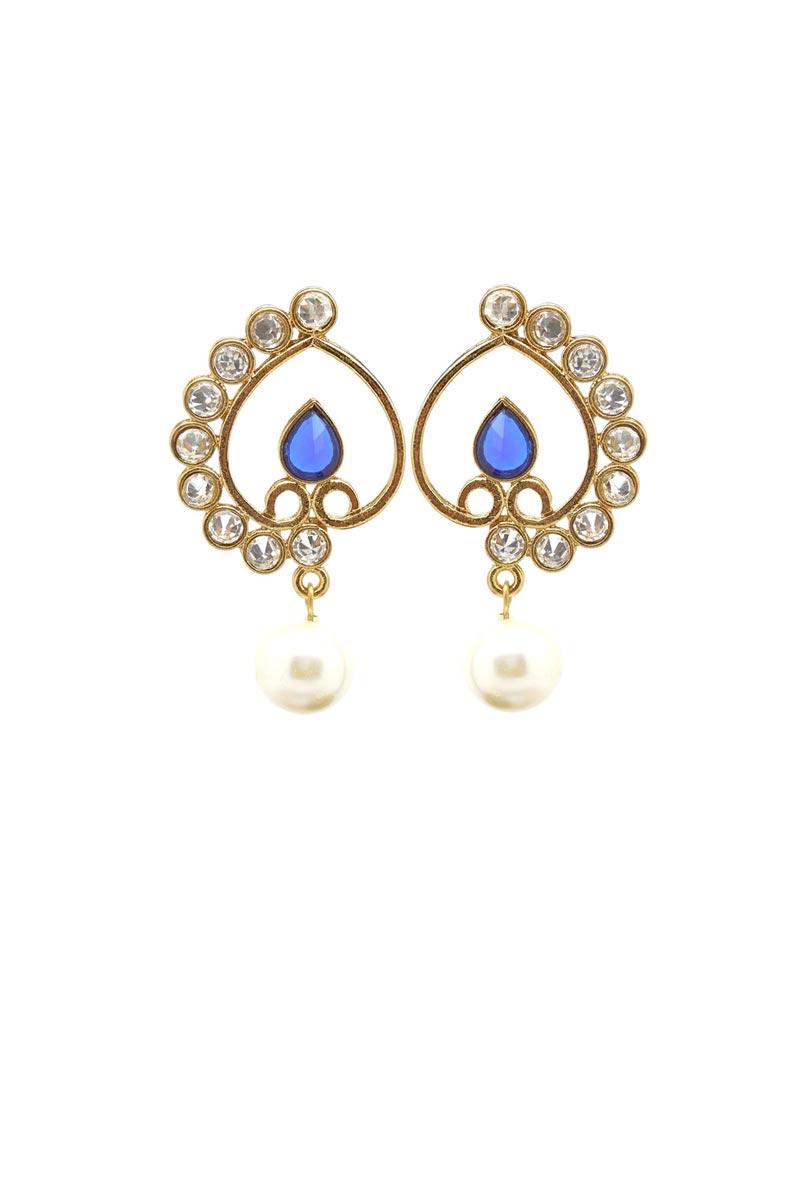 Golden Color Brass Material Festive Wear Fancy Earrings