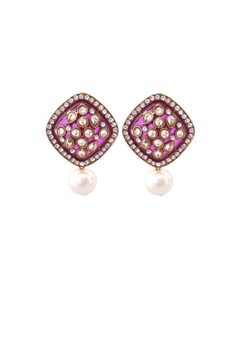 Purple Color Brass Material Party Wear Trendy Earrings