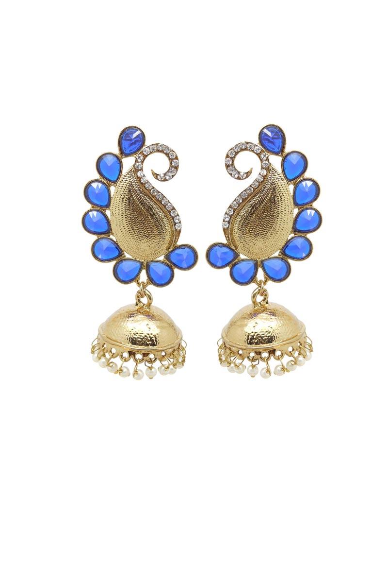 Golden Color Brass Material Sangeet Wear Stylish Earrings