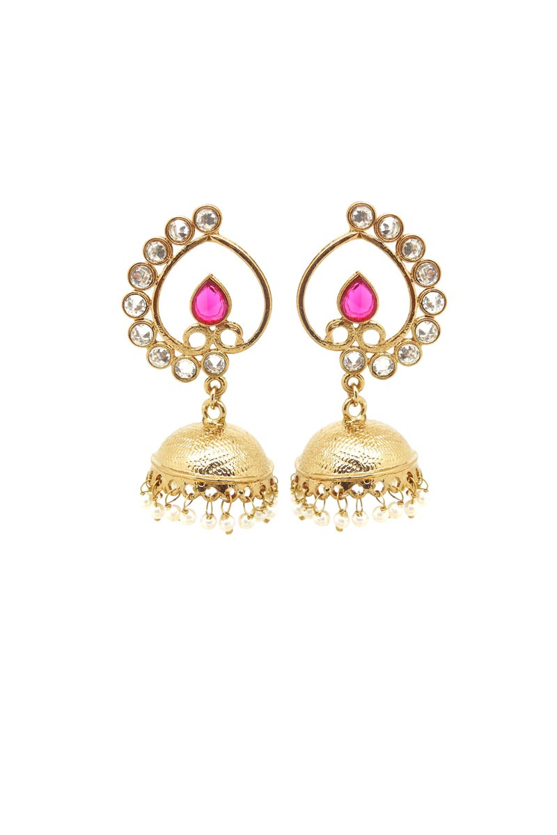Golden Color Brass Material Wedding Wear Designer Earrings