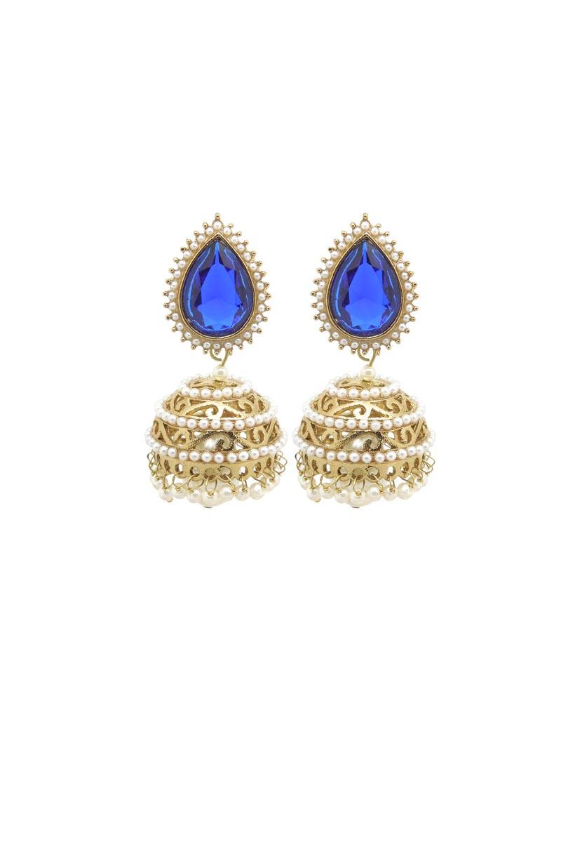 Blue Color Brass Material Reception Wear Simple Earrings