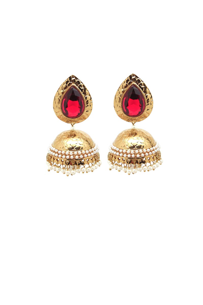 Red Color Brass Material Function Wear Earrings