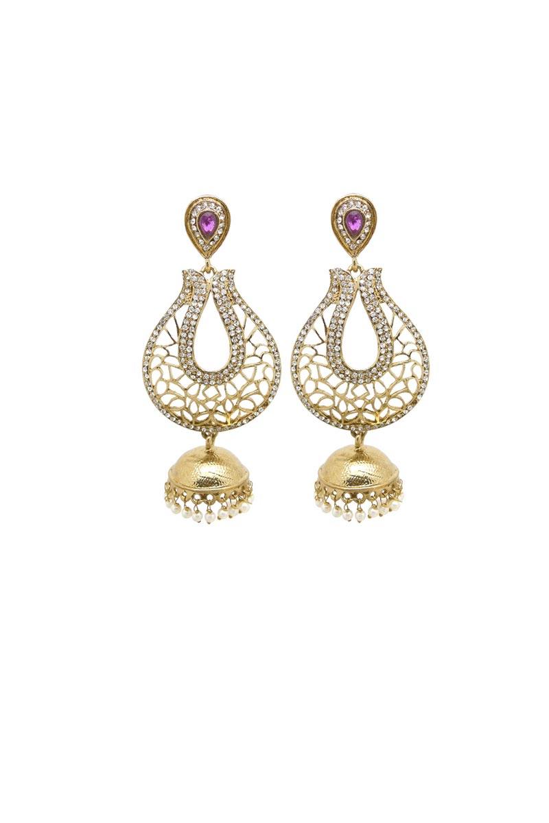 Golden Brass Material Festive Wear Fancy Earrings
