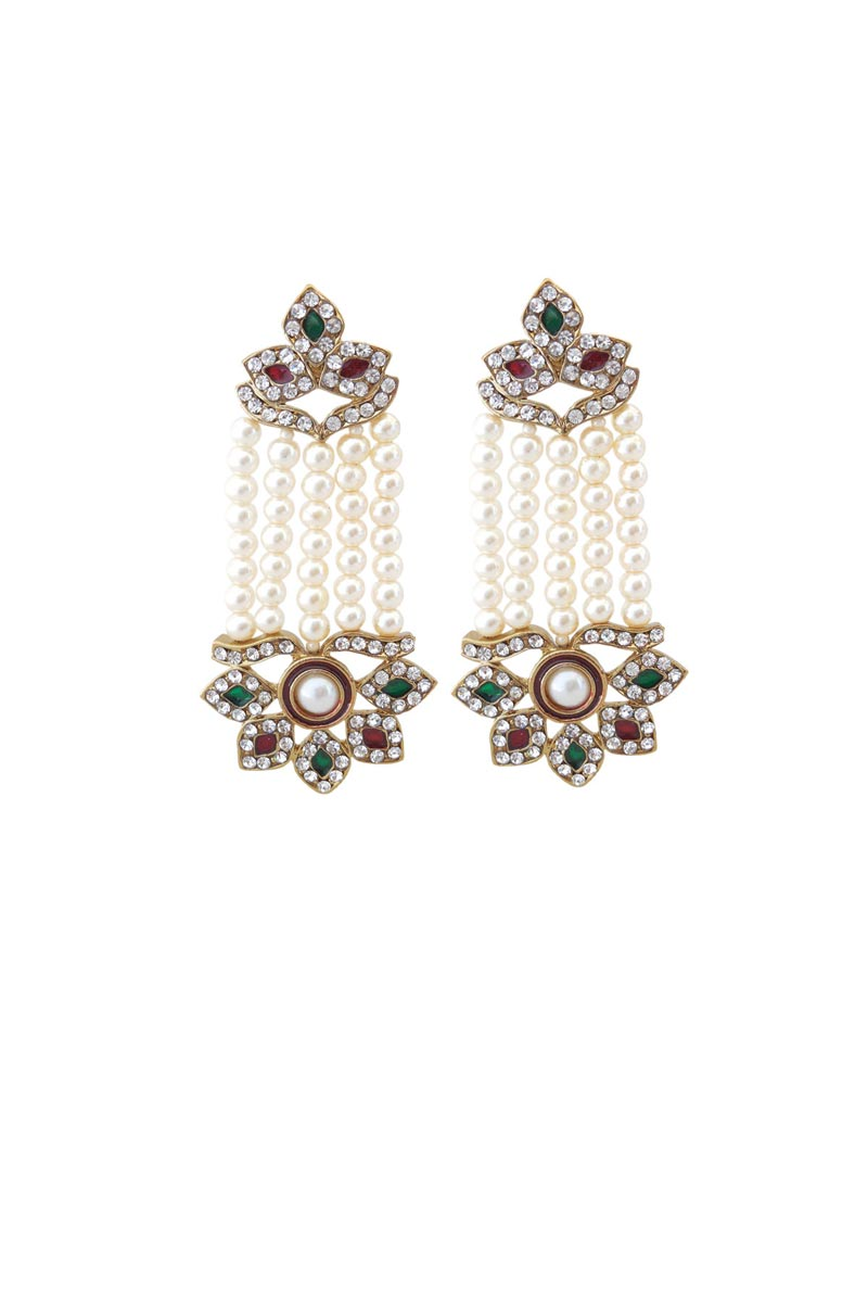 Silver Color Brass Material Sangeet Wear Stylish Earrings