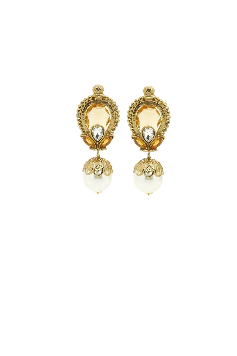 Golden Color Alloy Metal Wedding Wear Designer Earrings