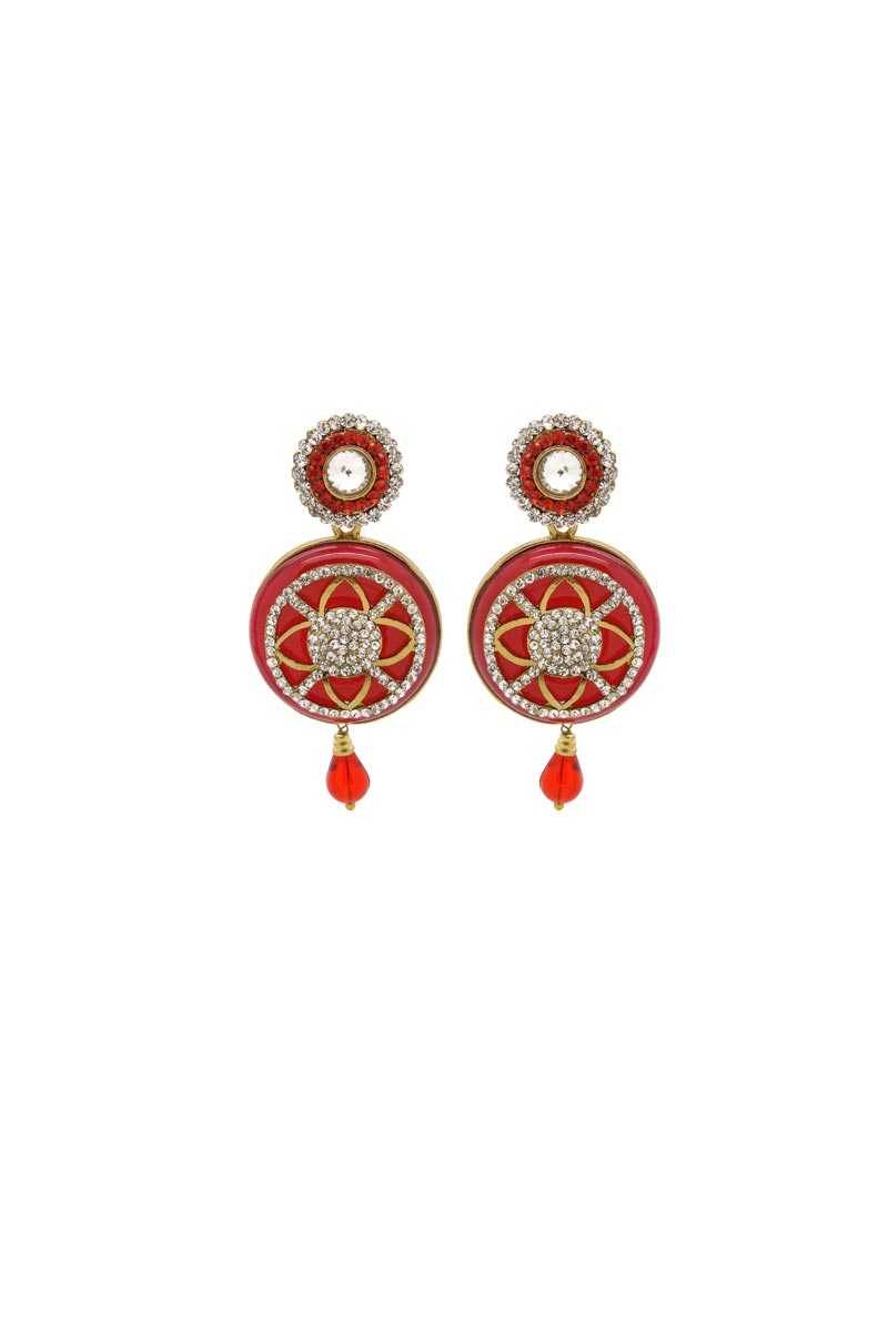 Red Color Brass Material Festive Wear Fancy Earrings