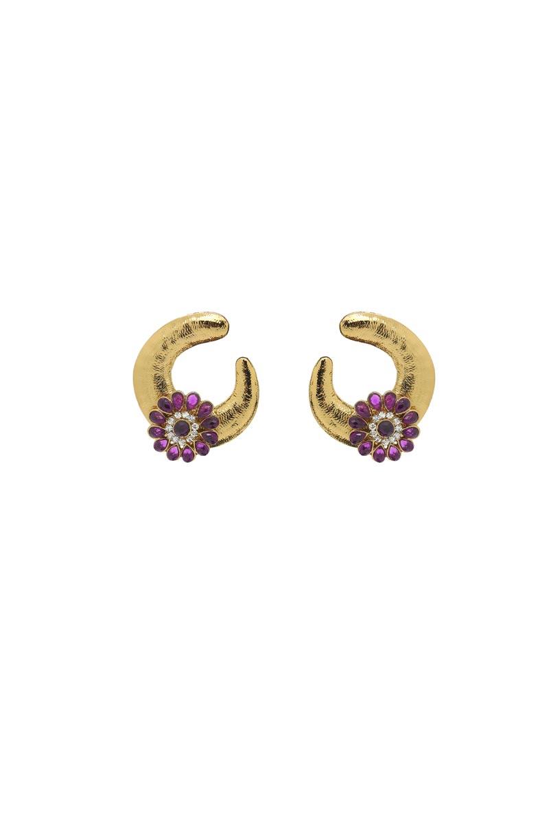 Golden Color Brass Sangeet Wear Stylish Earrings