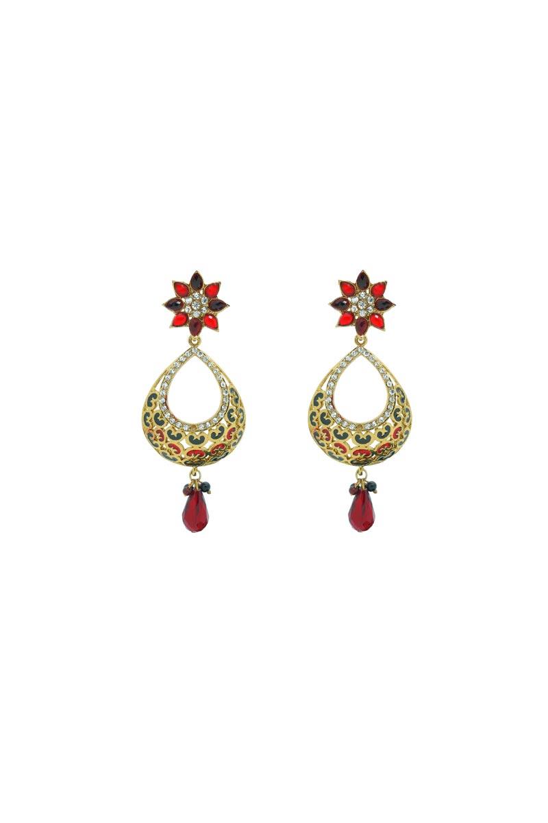 Golden Color Brass Material Wedding Wear Earrings