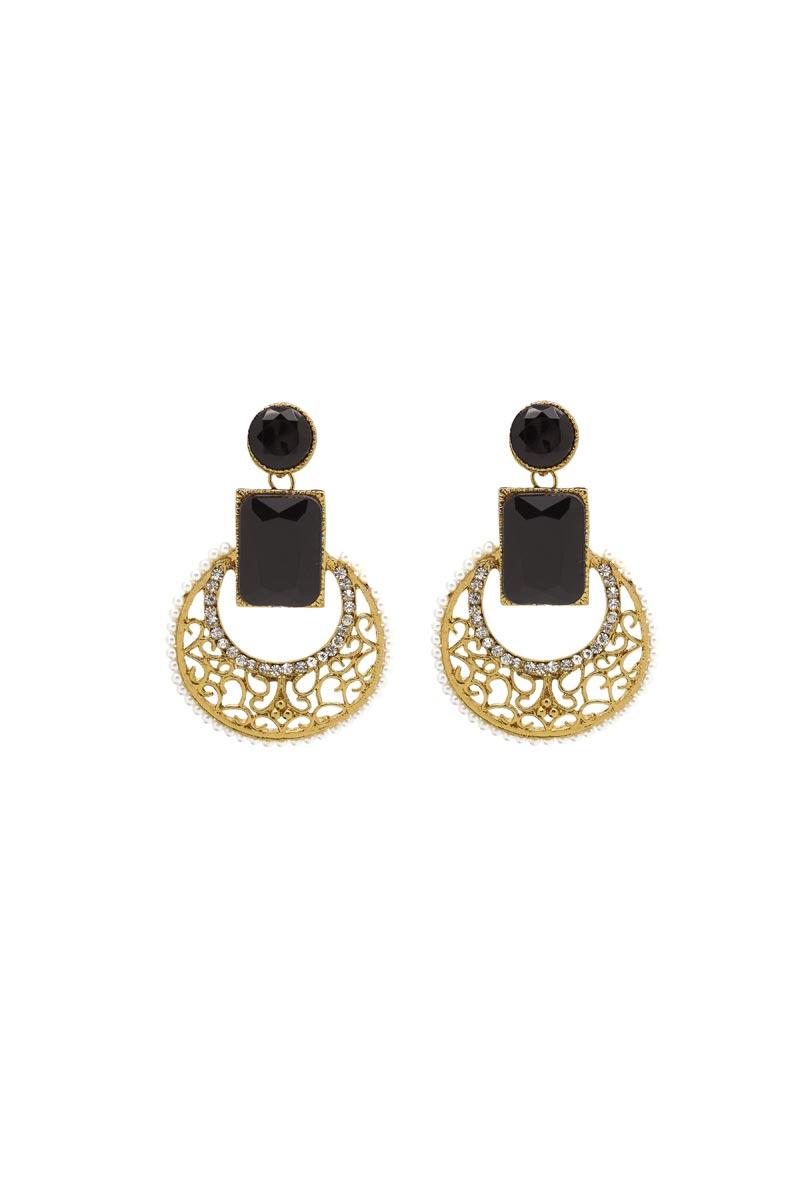 Black Color Brass Material Reception Wear Simple Earrings