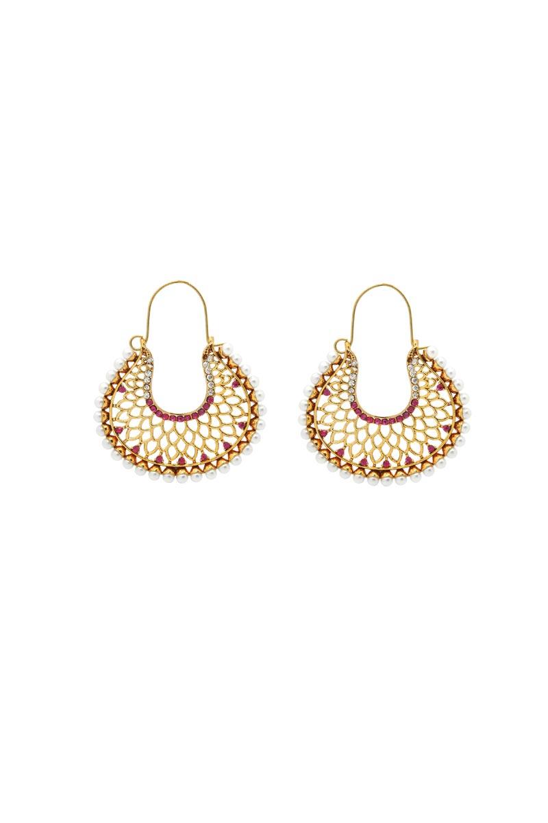 Golden Color Alloy Metal Function Wear Earrings
