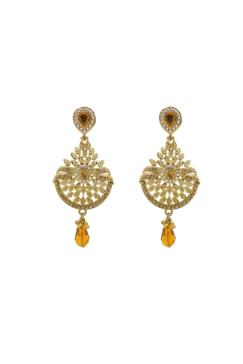 Golden Color Brass Material Fancy Earrings