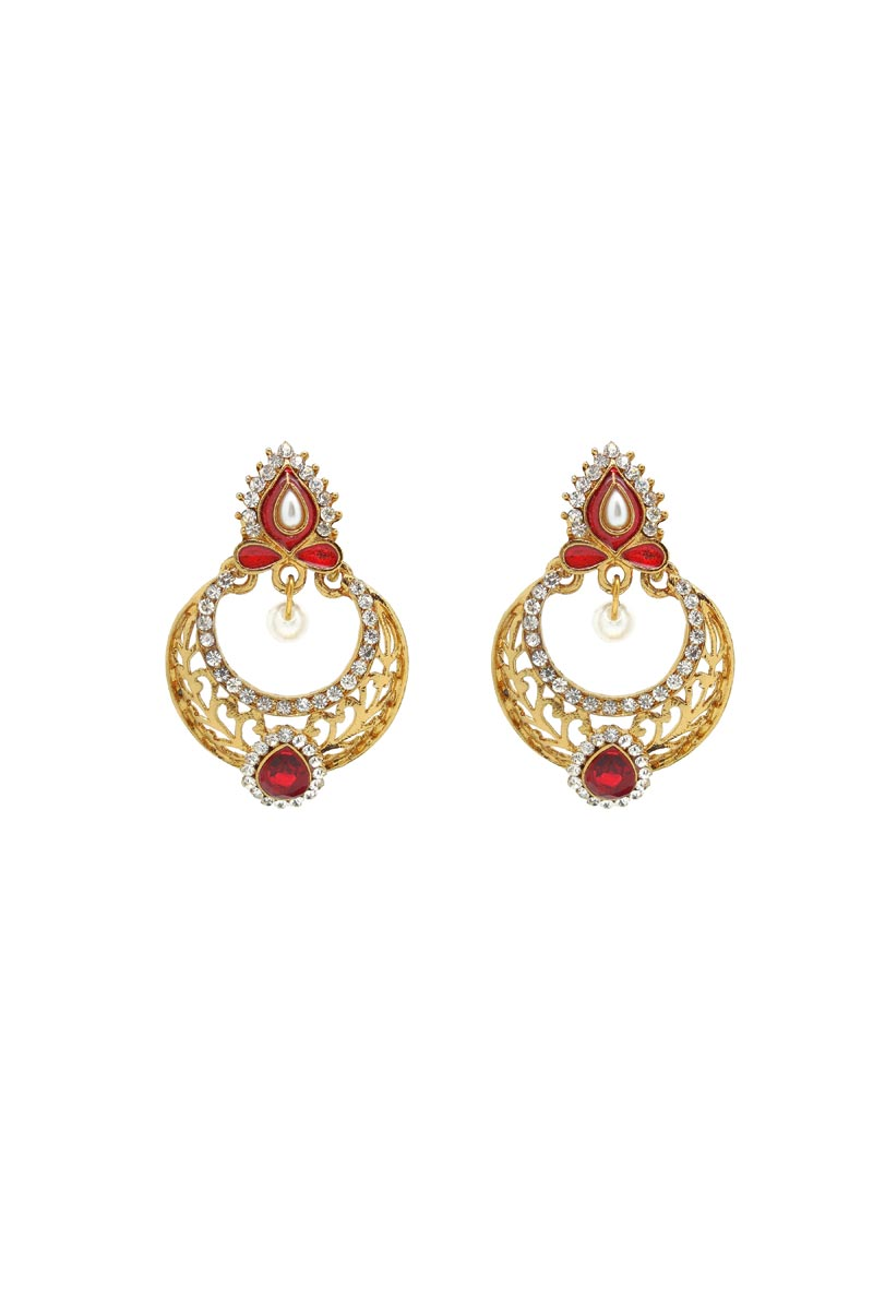 Red Color Brass Material Party Wear Trendy Earrings