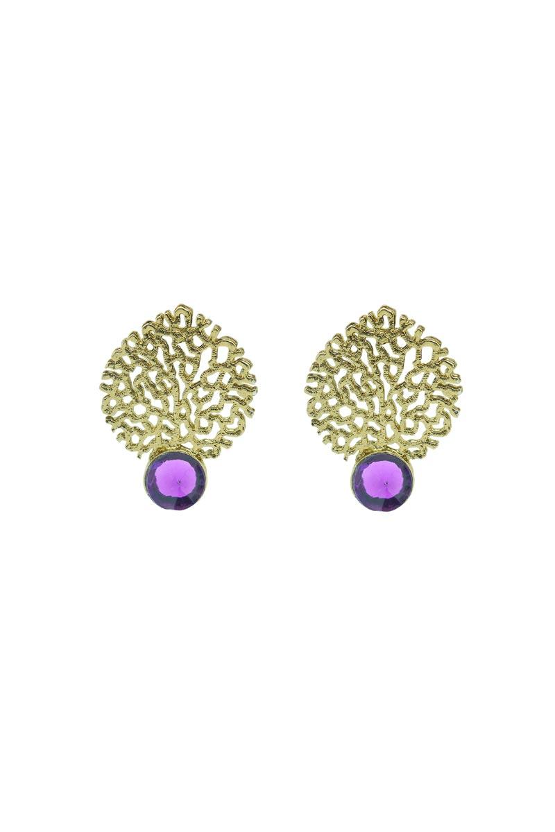 Golden Brass Sangeet Wear Stylish Earrings