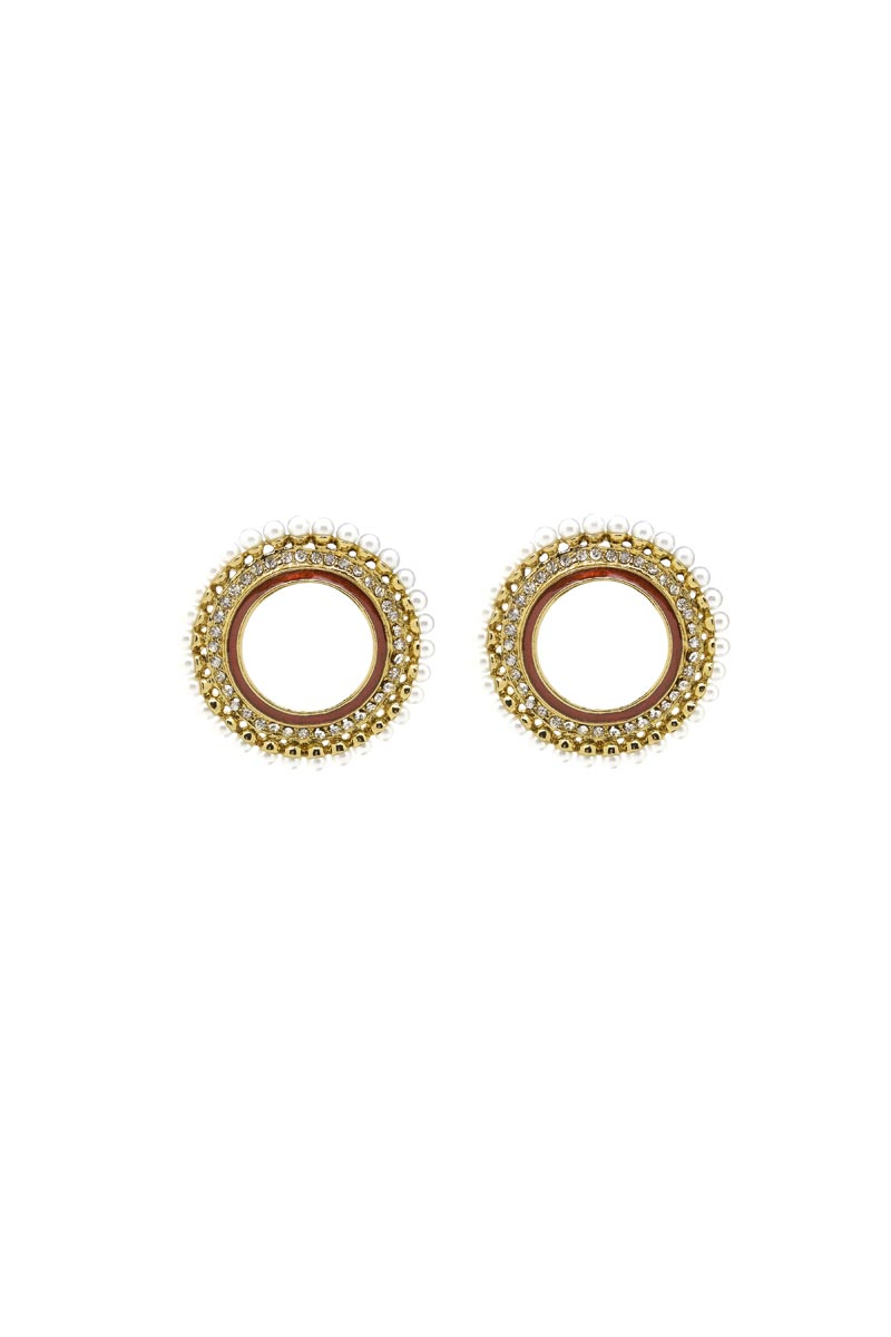 Golden Color Brass Material Earrings
