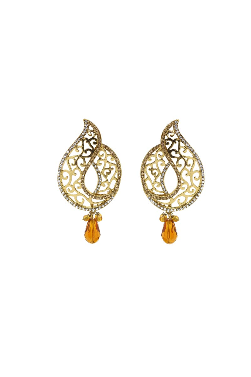 Golden Color Brass Material Reception Wear Simple Earrings