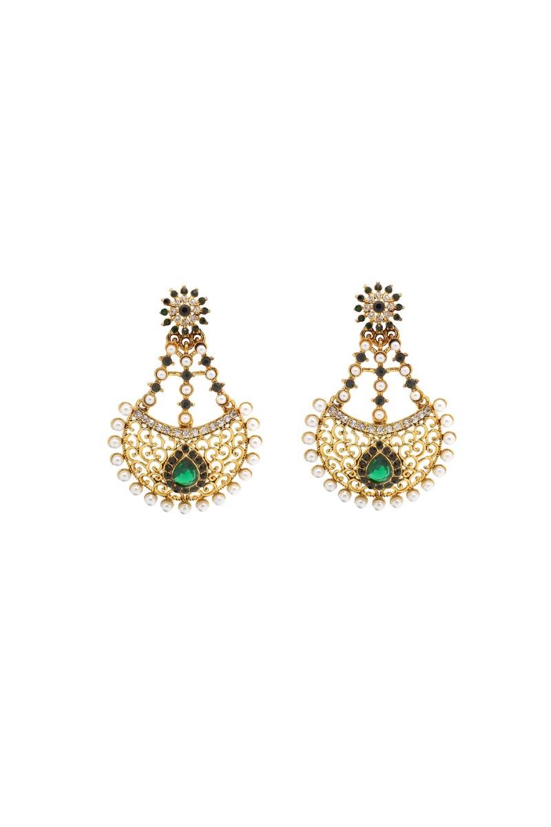 Golden Color Brass Festive Wear Fancy Earrings