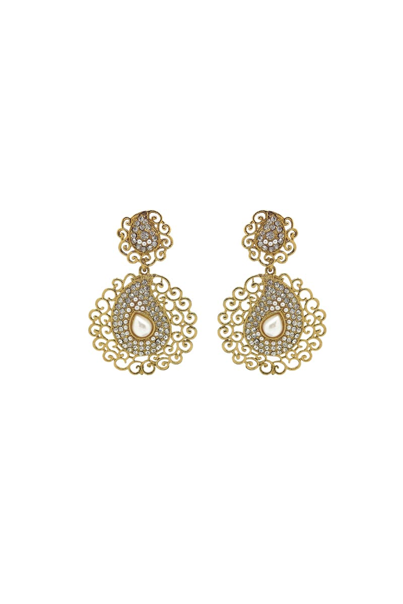 Golden Color Brass Material Trendy Earrings