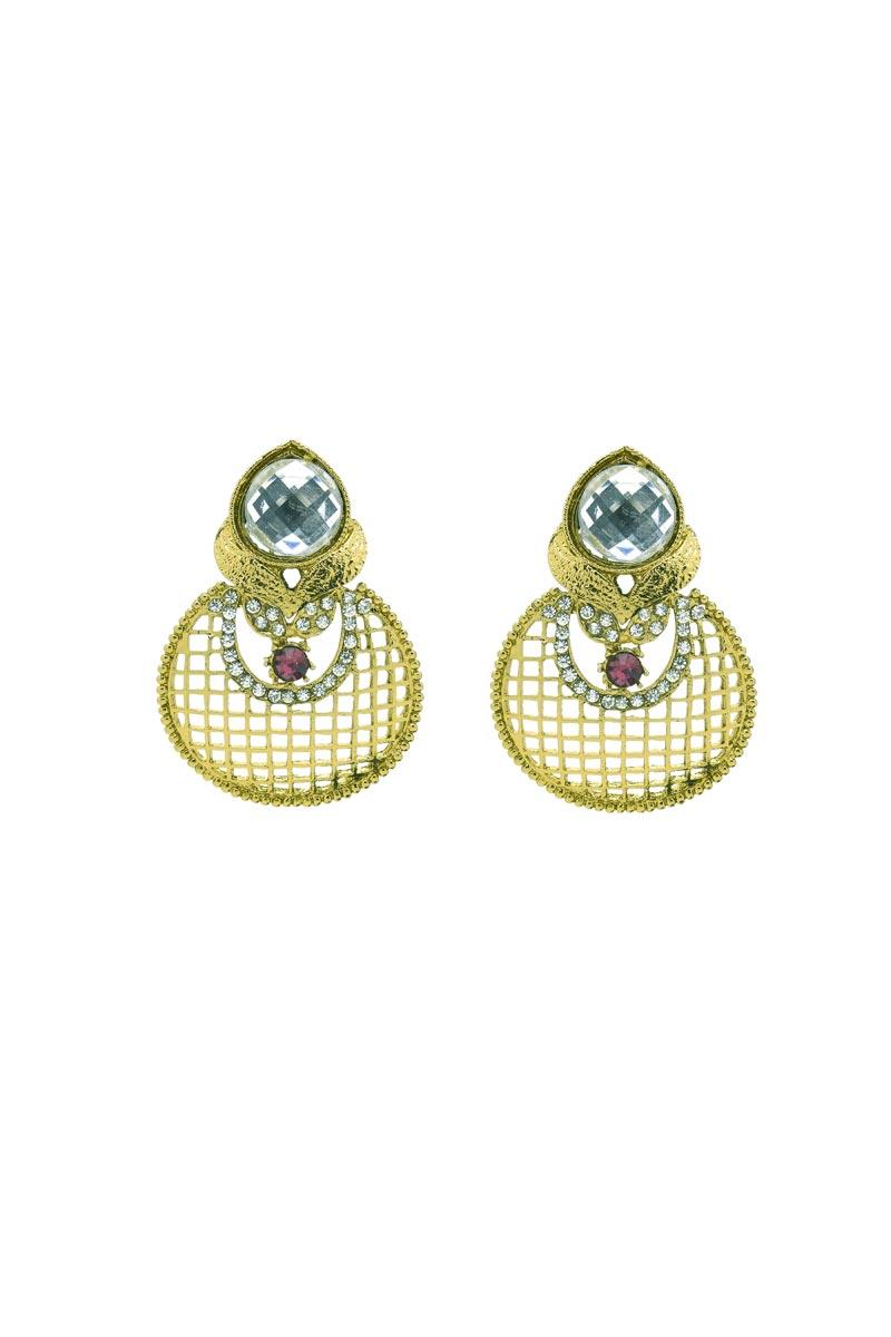 Golden Color Brass Material Sangeet Wear Earrings