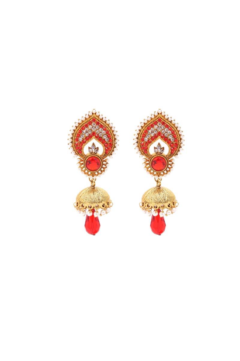 Red Brass Wedding Wear Designer Earrings