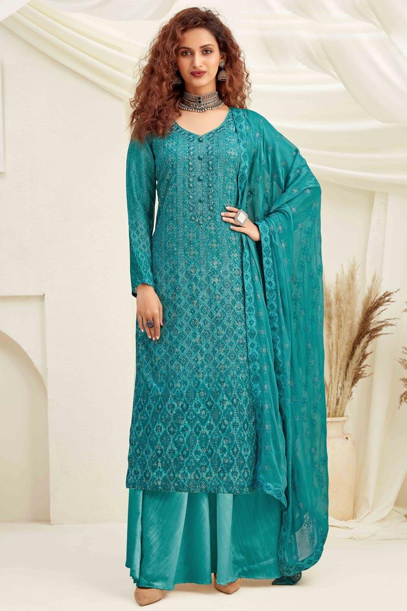 Fancy Viscose Fabric Party Wear Palazzo Salwar Suit