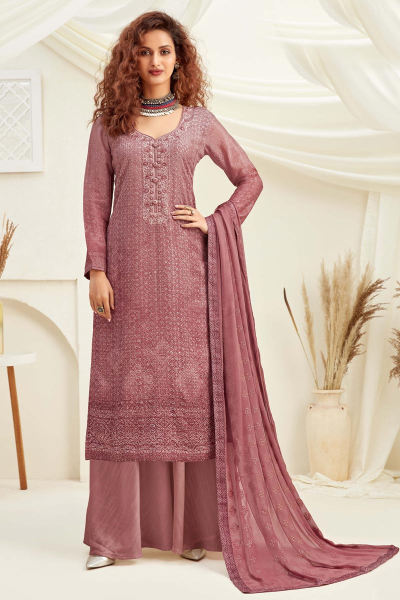 Occasion Wear Peach Color Embroidered Palazzo Salwar Kameez